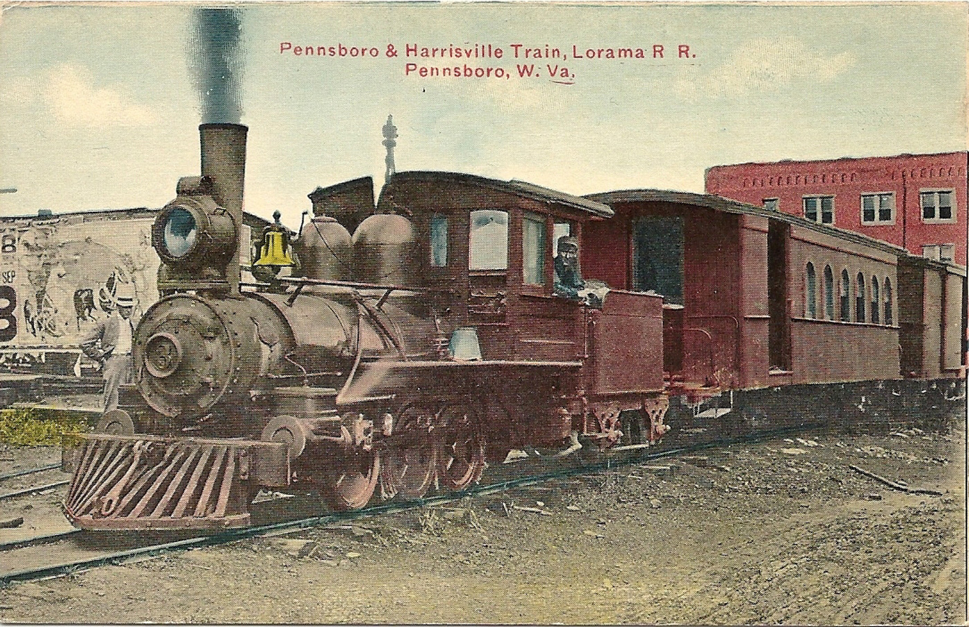 Lorama rr 3 a small porter 0 6 0 with a four wheel tender and a mixed train in tow prepares to leave the depot at pennsboro wv circa 1910 for its eight