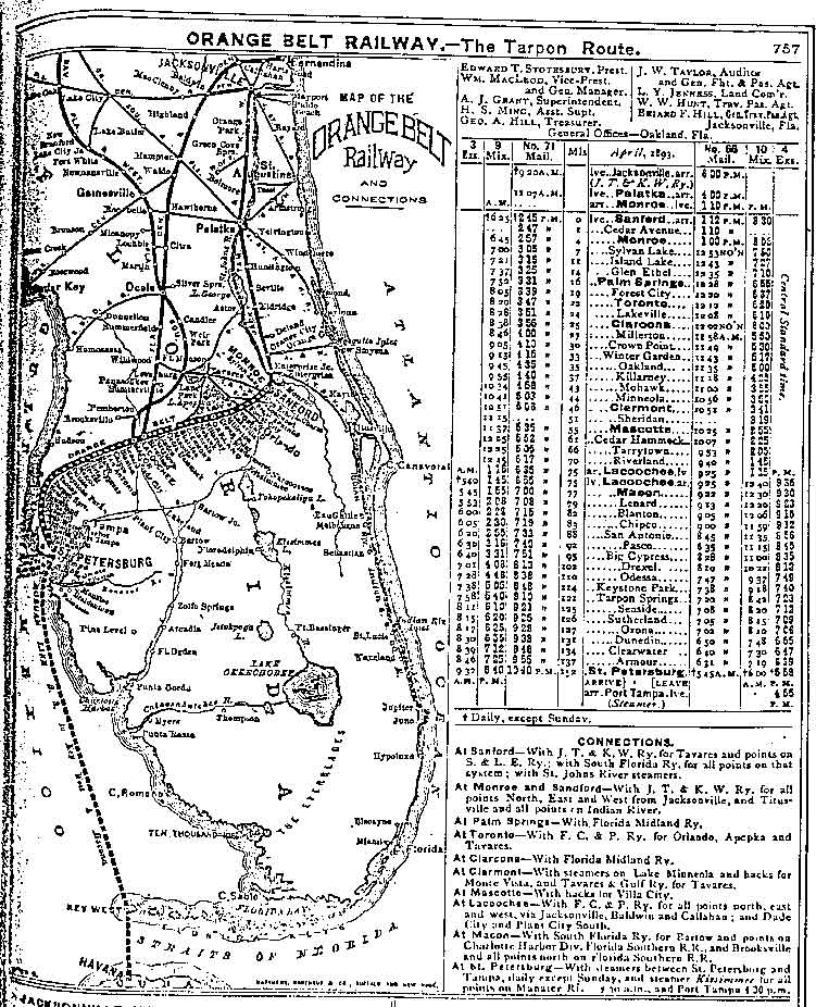 Florida Railroad Map.Orange Belt Railway Narrow Gauge Railroads Of Florida
